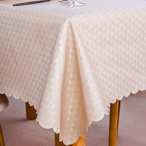Yinaa Mantel de Tela Impermeable Antimanchas Arte Resistente Al Desgaste Anti Escaldado Disponible en Varias Medidas Blanco Hueso 140×140cm