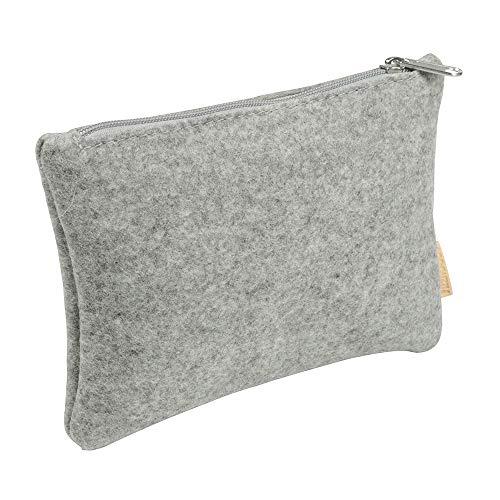 BIOZOYG Kosmetiktasche für die Handtasche I Make-up Filz Mäppchen mit Reißverschluss I Filzwolle hell meliert