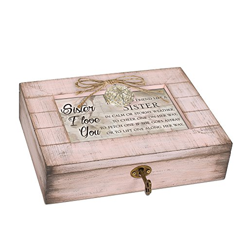 Cottage Garden Friend Sister Blush Pink Distressed Locket Music Box Plays Wind Beneath My Wings
