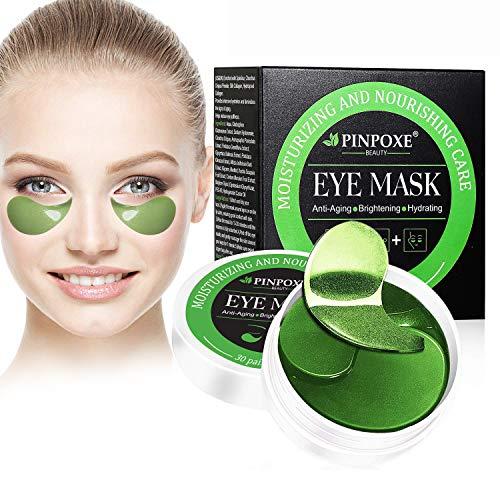 Máscara para los ojos, Parches para los ojos, Ojos Parches, Contorno de Ojos Antiarrugas, Anti edad para ojeras,bolsas,patas de gallo e hinchazón, 30 pares