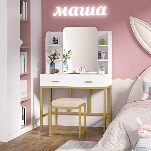 Tribesigns Bureau avec 2 tiroirs structure en acier blanc coiffeuse sans miroir bois table de travail
