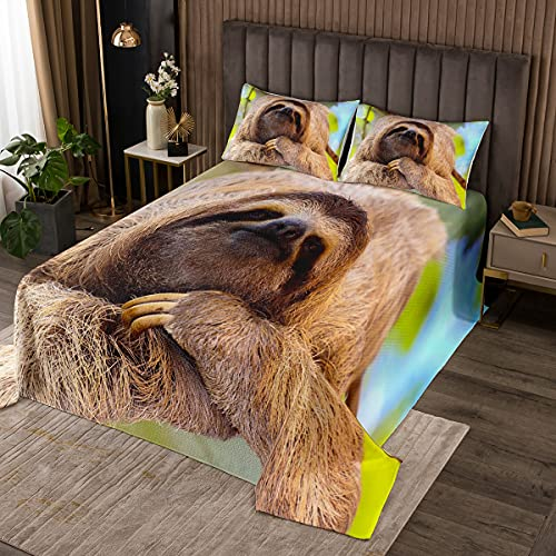 Feelyou Faultier-Decken-Set mit niedlichem Tiermuster, Tagesdecke, 3D-Faultier-Druck, gesteppt, für Kinder, Wildtier-Thema, gesteppt, Raumdekoration, Bettwäsche, Kollektion, Doppelbett-Größe