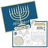 Big Dot of Happiness Happy Hanukkah - Paper Chanukah Holiday Party Coloring Sheets - Activity Placemats - Set of 16