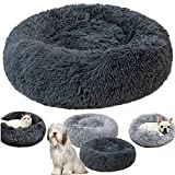 Round Pet bed, Calming Bed Plush Nest Warm Soft Cushion Donut Cuddler Cat Dog Puppy Comfortable for Sleeping Winter Max Load 25kg (Dia.80cm, Deep-Gray)