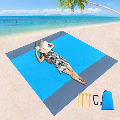 Zueyen Couverture de plage anti-sable - Grand tapis de plage étanche pour 4 à 6 adultes - Couverture de pique-nique imperméable pour les voyages, le camping, la randonnée (210 x 200 cm, bleu)