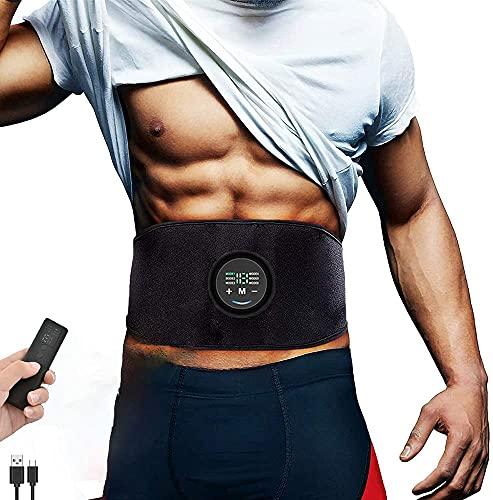 Yonars Cinturon Electroestimulador Abdominales, Cinturon Vibratorio Abdominales, Electroestimulador Muscular Abdominales, EstimulacióN USB Recargable Abs Trainer para Abdomen/Cintur