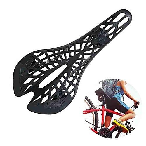 Cycling Bicycle Hollow Carbon Fiber Bike Saddle Seat Ergonomics Design, Non-Slip Waterproof Comfortable Spider Saddle Cushion Bicycle Accessories, Mountain Bike MTB Road, Hiking, Road Trip (Black)