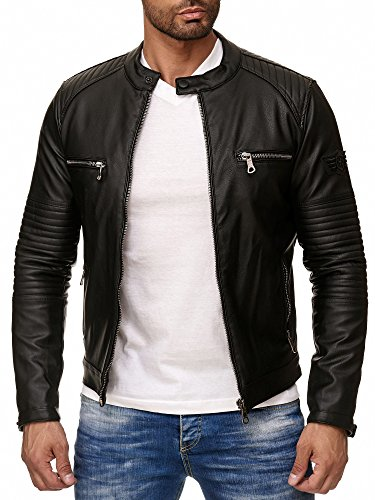 Reslad Kunstlederjacke Herren-Jacke Leder-Jacke Gesteppte Ärmel Übergangs-Jacke Männer Biker-Jacke RS-9015 Schwarz 2XL