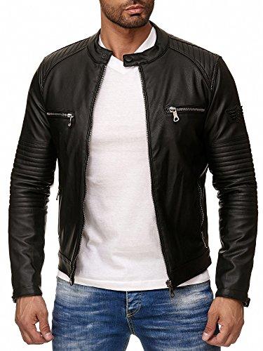 Reslad Kunstlederjacke Herren-Jacke Leder-Jacke Gesteppte Ärmel Übergangs-Jacke Männer Biker-Jacke RS-9015 Schwarz L
