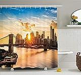 Juego de Cortinas de Ducha NYC DecorCityscape of Brooklyn Bridge y Lower Manhattan Hudson River Center of Fashion Art and CultureAccesorios de baño 72 x 72 Pulgadas