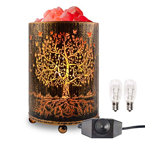 Salt Lamps Night Light, Himalayan Salt Rock Lamp with Dimmer Switch, Tree of Life Salt Basket Lamp, Retro Decor Salt Crystal Desk Light with 15W Replacement Bulbs