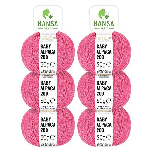 100% Baby Alpakawolle in 50+ Farben (kratzfrei) - 300g Set (6 x 50g) - weiche Alpaka Wolle zum Stricken & Häkeln in 6 Garnstärken by Hansa-Farm - Himbeersahne Heather (Rosa/Pink)
