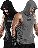 DRSKIN 2 Pack Men's Hooded Tank Tops Bodybuilding Muscle Cut Off T Shirt Sleeveless Gym Training Hoodies Workout Dry (T-Hood (B01,GR04), L)