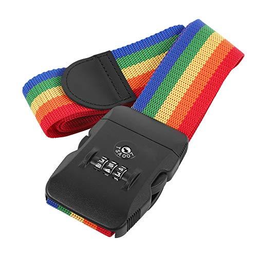 Semiter Cinghie di bloccaggio dei Bagagli, Cinghie per Bagagli in Tessuto PP, per l'ispezione di Sicurezza del Viaggio(Nastro Multicolore)