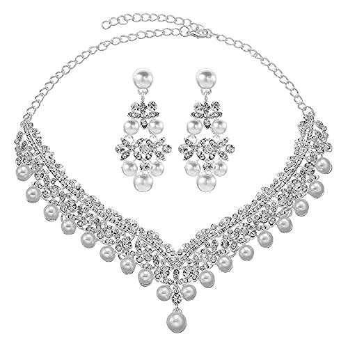KUNHAN Juegos de Joyas Mujer Versión Coreana del Collar de Boda del Collar de la Perla de la Novia en Forma de clavícula y aretes de Dos Piezas.