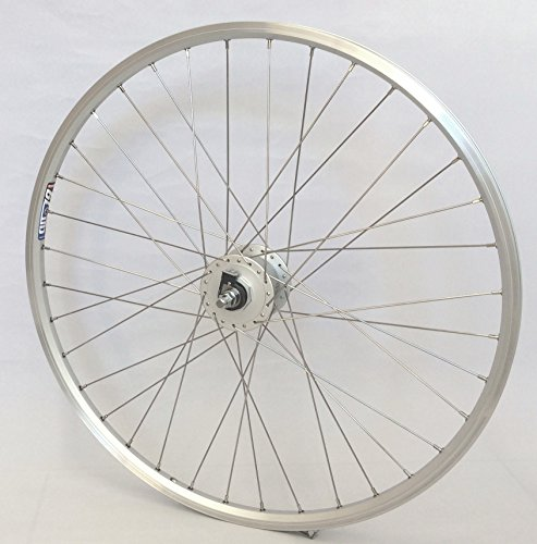 26 Zoll Fahrrad Laufrad Vorderrad Hohlkammerfelge Cut 19 Shimano Nabendynamo DHC30003 Vollachse Silber für V-Brakes/Felgenbremse