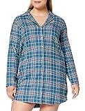 Amazon-Marke: Iris & Lilly Damen Langärmeliges Nachthemd aus Flanell, Blau (Navy/Teal), XL, Label: XL