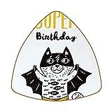 Posavasos triangulares para bebidas, diseño de gatos divertidos con texto en inglés 'I Have A Super Birthday', para proteger muebles, resistente al calor, decoración de bar de cocina, juego de 6