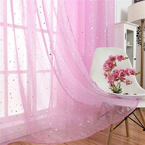 """Haoun 2 Panels Twinkle Star Sheer Curtain,78.8"""" x 39.4"""" Inch Pink Window Rod Pocket Panels Drapes Curtain Sheer Window Screen for Kid's Room,Living Room Decor"""