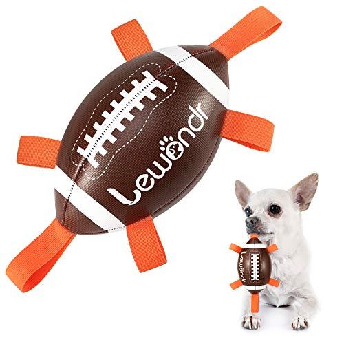 Lewondr Juguete de Rugby para Perros Pequeños y Medianos, Juguete Interactivo con 6 Cintas, 15cm Pelota Interesante para Juego Interior, Deportes Acuáticos al Aire Libre, Marrón/Blanco/Naranja