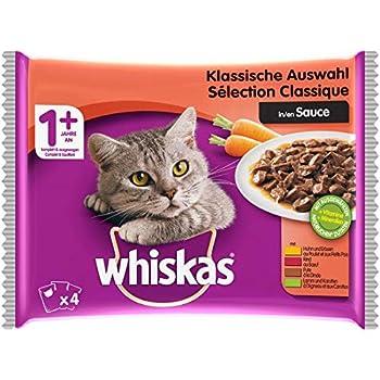 Whiskas Sélection Classique en Sauce – Nourriture humide pour chat adulte – Alimentation complète en sachets fraîcheur – 52 x 100g
