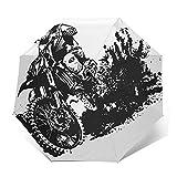 Paraguas Plegable Automático Impermeable Bicicleta Motocross Rider Dirt Race,Paraguas De Viaje Compacto A Prueba De Viento, Folding Umbrella, Dosel Reforzado, Mango Ergonómico