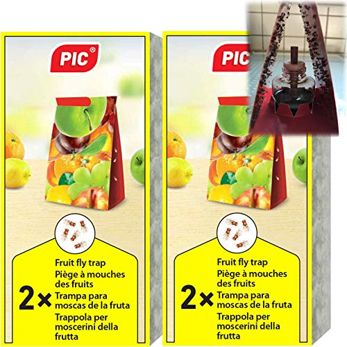 PIC - Trampa para Moscas de la Fruta - 4 trampas de Pegamento con 2 recipientes atrayentes...