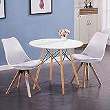 GOLDFAN Esstisch mit 2 Stühlen klein Runder Tisch und Stuhl mit Kissen für Wohnzimmer Küche usw ,Weiße