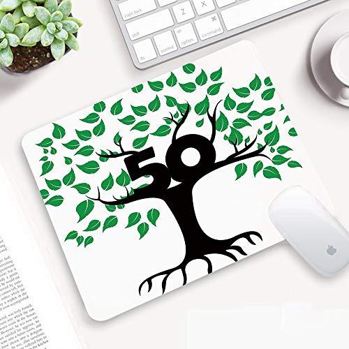Alfombrilla Ratón 320x250 mm,Decoraciones de 50 años, icono de árbol estilizado con el tema de la nat,Antideslizante e Alfombrilla goma Impermeable Ideal para Portátil, Teclado, Gaming Hogar y Oficina