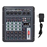 Phenyx Pro PRX-100 Audio Mixer, Compact 4-Channel Mixing Console with 3-Band EQ, USB Recording Interface, Bluetooth, 48V Phantom Power, Ideal for Home Recording, Webcast, K Song