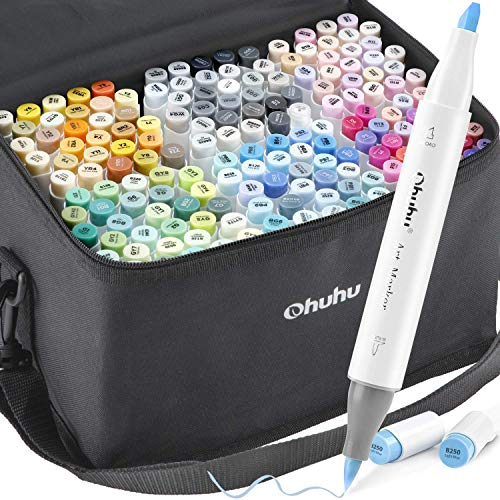 Ohuhu Alcohol Brush Markers, 168-color Art Markers Set, Double Tipped Alcohol-based Markers for Adults Coloring Illustration, Brush & Chisel, 48 Pastel Colors + 120 Colors + 1 Alcohol Marker Blender
