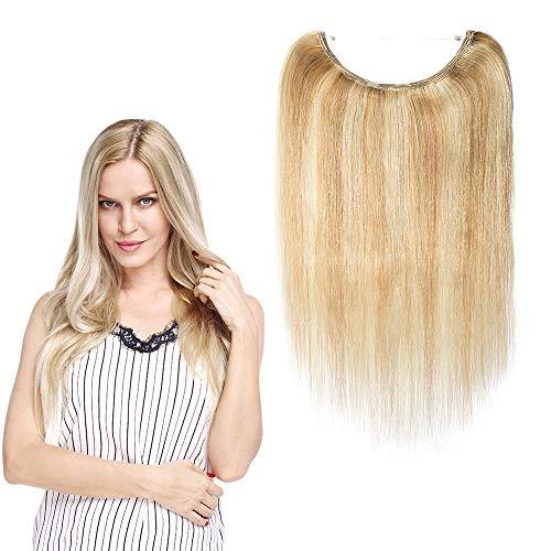 Extensions Echthaar Haarteile Echthaar Haarverlängerung mit Unsichtbarem Draht Keine Clips Hochwertig 7A Remy Hair 50cm 70g 12P613#Graublond & Bleichblond
