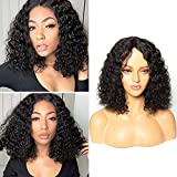 BLISSHAIR Wig Human Hair Kinki Curly Capelli Umani Veri Vergini Brasiliani Ricci Parrucca Short Bob Glueless Lace Front Wig Water Wave with Natural Hairline 30.5cm