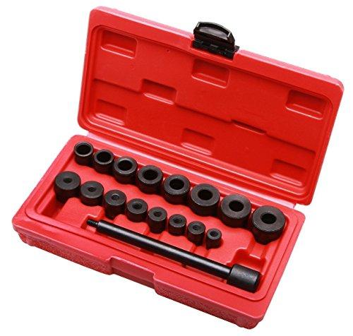 LARS360 17 teiliges Set Kupplungs-Zentrierwerkzeug Zentriersatz Kupplungs Justieren Werkzeug Zentrierdorn Einstellwerkzeug mit Spannknopf im Koffer