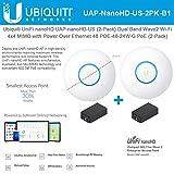 UniFi nanoHD UAP-nanoHD-US (2-Pack) Compact Dual Band Wave2 Enterprise Wi-Fi 4x4 MIMO Power Over Ethernet 48 POE-48-24W-G PoE Included