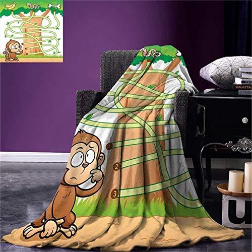 LILANG Manta Cálida Actividad para niños Tiro Mono Curioso Tratando de alcanzar el Camino de diseño de Laberinto de plátanos Funky Forest Warm 150x200cm
