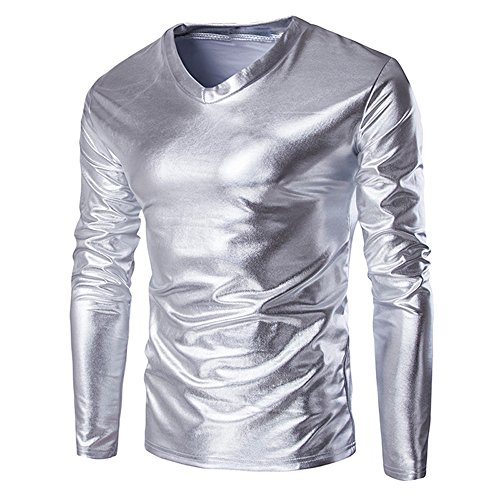 FRAUIT Metallic Shiny sweatshirt Wet Look lange mouwen T-shirt Top Slim Fit blouse met V-hals Shirt Vrije tijd Masquerade Festival Party Tanzparty M-5XL