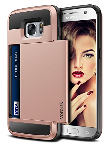 Vofolen Case for Galaxy S7 Case Wallet Slidable Card Holder Slot ID Pocket Protective Hard Shell Shock Absorbing TPU Tough Rubber Bumper Armor Scratch-Proof Case Cover for Samsung Galaxy S7 Rose Gold