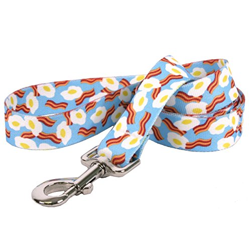 Yellow Dog Design Bacon and Eggs Dog Leash 3/4' Wide and 5' (60') Long, Small/Medium