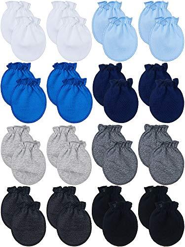 16 Pairs Newborn Baby Mittens No Scratch Gloves Unisex Newborn Mittens for baby Boys Girls 0-6 Months (Multi-Color)