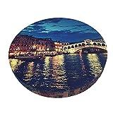 Funda De Cojín para Silla De Bar Redonda Puente De Rialto En Venecia Italia En La Noche Barra Redonda Funda De Cojín para Silla Funda De Asiento Suave Antideslizante Protector Elástico