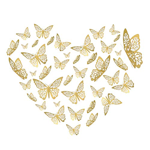 YOYOSO Butterfly Wall Decor Sticker Wall Decal 48 Pcs Gold 3D Art Removable Mural Decoration DIY Flying Decor for Kids Bedroom Home Party Nursery Classroom Offices Décor 6