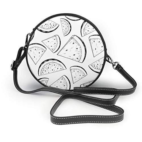 Wassermelonen-Schnittmuster Klassische runde Umhängetasche Umhängetasche aus Leder