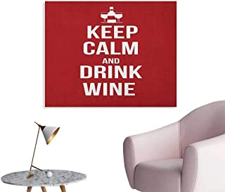 Anzhutwelve Keep Calm Poster Wall Decor Wine Theme with a Bottle and Two Glasses Popular Slogan About Alcoholic Drink Poster Print Ruby White W36 xL32