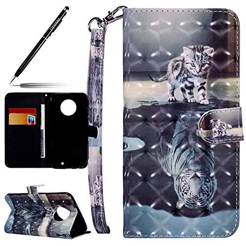 Uposao Kompatibel mit Handyhülle Motorola Moto X4 Lederhülle Handy Schutzhülle Bling Glitzer Glänzend 3D Bunt Muster Flip Case Cover Klappbar Leder Tasche Book Handytasche Klapphülle,Tiger Katze
