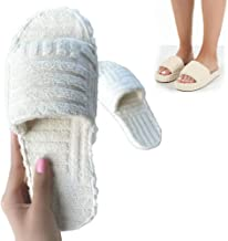 Terry Towelling Slider Slippers,Terry Cloth Open Toe Slippers for Women,Flat Thick Bottom Slippers House Shoes for Autumn ...
