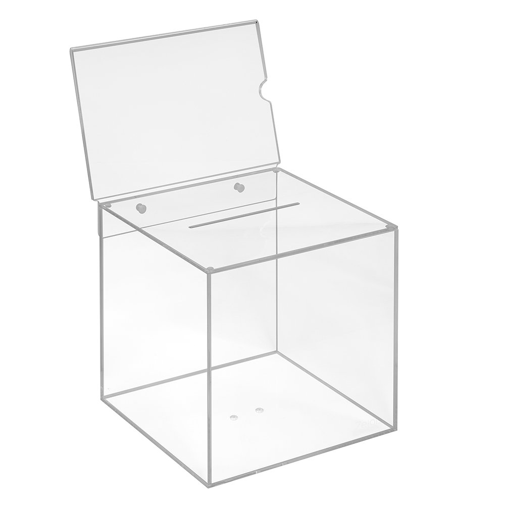Votaciones de acrílico cristal en 200 x 200 x 200 mm con pizarra DIN A5 horizontal – zeigis®/Dona Caja/caja/sorteo bicicletaDerbystar parte Box/transparente/transparente/acrílico/Plexiglas: Amazon.es: Oficina y papelería