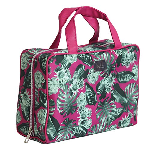 Nicole Miller Makeup Bag, Travel and Toiletry Bag, Large Cosmetic Bag with Zippered, Transparent Pockets and Handles, Foldable Makeup Bag for Home and Travel (Hot Pink & Green Leaf Print)