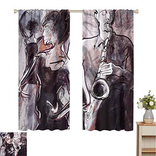 Toopeek Music Shading Cortina aislada Ilustración de Jazz Man tocando el saxofón con bailarines Diseño...