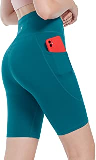 """SPRING SEAON Yoga Shorts for Women with Pockets 8"""" High Waist Biker Shorts Workout Prints & Solid Color Athletic Shorts"""